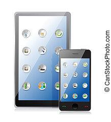 pc tablette, et, intelligent, téléphone, à, icônes