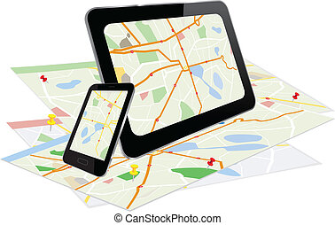 pc tablette, et, intelligent, téléphone, à, navigation, système