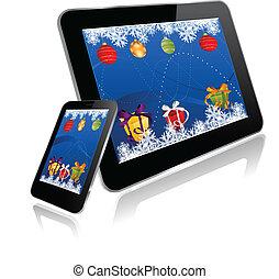pc tablette, et, intelligent, téléphone, à, noël, conception