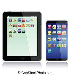 pc tablette, et, intelligent, téléphone