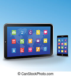 pc tablette, et, touchscreen, smartphon
