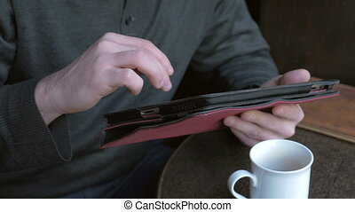 pc, tablette, fonctionnement, homme affaires