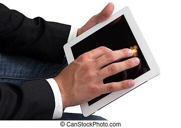 pc, tablette, fonctionnement, homme