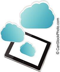 pc tablette, icônes, isolé, illustration, application, vecteur, fond, nuage blanc