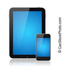 pc tablette, mobile, isolé, téléphone, numérique, intelligent
