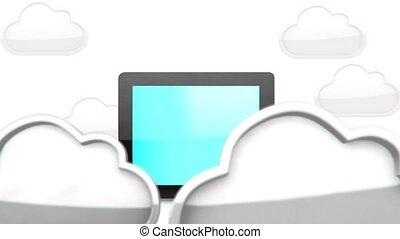 pc, tablette, nuage