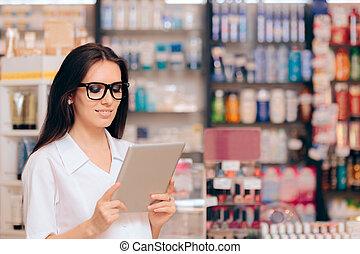 pc tablette, pharmacien, jeune, tenue, heureux