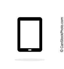 pc tablette, simple, écran, arrière-plan., blanc, icône