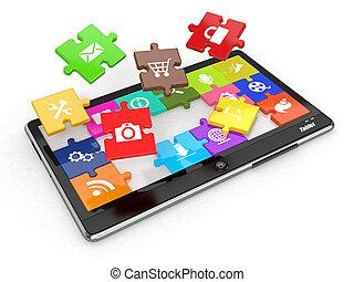 pc tablette, software., écran, depuis, puzzle, à, icons.