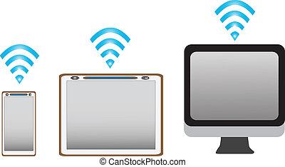 pc tablette, téléphone portable, fond, blanc