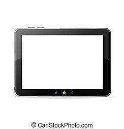 pc tablette, vecteur, arrière-plan noir, blanc