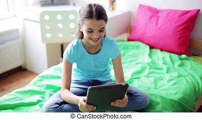pc tablette, vidéo, bavarder, maison, girl, avoir