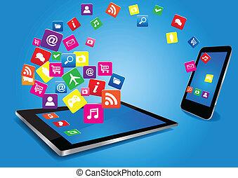pc tavoletta, e, smartphone, con, apps