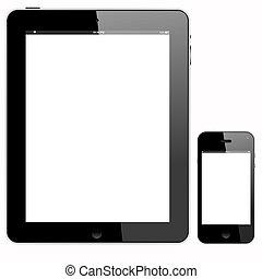 pc tavoletta, e, smartphone, con, wihte, schermo
