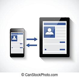 pc tavoletta, e, smartphone., sociale, rete, illustrazione