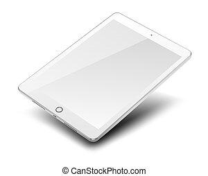 pc tavoletta, schermo, isolato, fondo., computer, vuoto, bianco