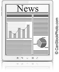 pc, tela, branca, tabuleta, notícia