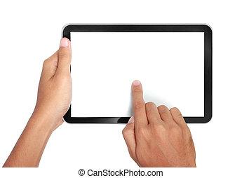 pc, toucher, tenue, tablette, mains