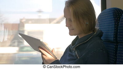pc, train, voyager, tablette, confortable