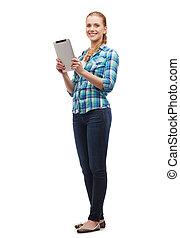 pc, uśmiechanie się, komputer, dziewczyna, tabliczka