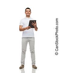 pc, uśmiechanie się, komputer, tabliczka, człowiek