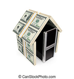 PC under the roof made of dollars.