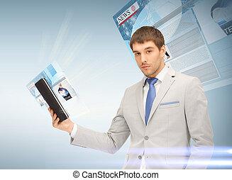 pc, uomo affari, lettura, tavoletta, notizie