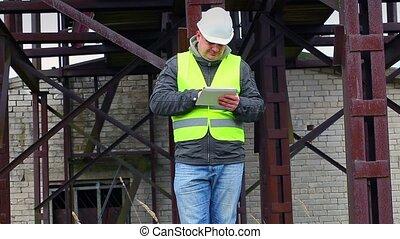 pc, usine, tablette, ingénieur
