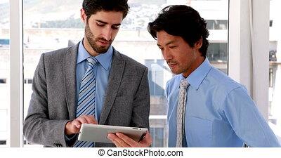 pc, utilisation, homme affaires, tablette