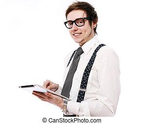 pc, utilisation, jeune, tablette, homme affaires