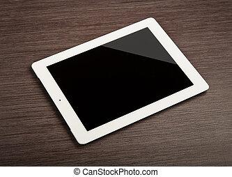 pc, vide, blanc, tablette, bureau