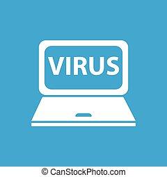 PC virus icon, simple