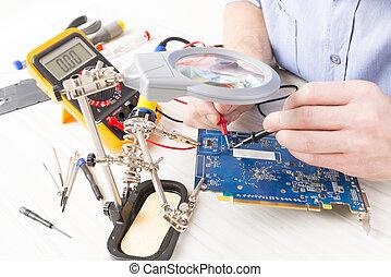 pcb, assegni, multimeter, tecnico di assistenza, digitale