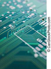 pcb close up - close up of green printed circuit board