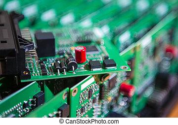 pcb, dire bugie, pila, assi, components., circuito stampato...