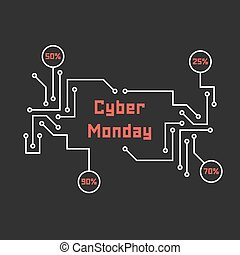 pcb elements like cyber monday. concept of black friday...