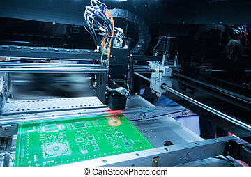 PCB Processing on CNC machine, Production of electronic components at high-tech factory