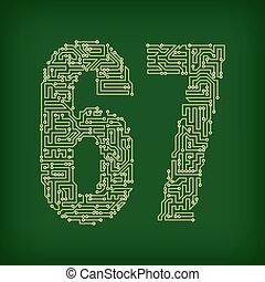 PCB symbols - PCB letter and digits. Vector illustration.