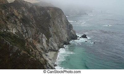 Cliff ocean California three