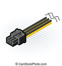 pcie, connecteur, isométrique, épingle, 6