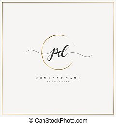 Initial Letter handwriting logo hand drawn template vector, logo for beauty, cosmetics, wedding, fashion and business