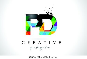 PD P D Letter Logo with Colorful Triangles Texture Design Vector.