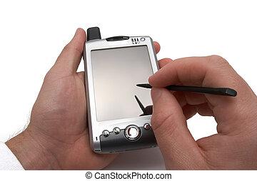 PDA in man's hands