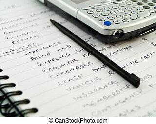 pda, moderno, mobile, cellphone, con, stilo