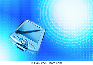 PDA on blue abstract background