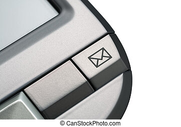 PDA-Personal Data Assistant used for mobile office organization, mail icon detail (isolated with clipping path)