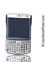 A PDA flip phone against a white background