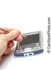 PDA - man writing on a pda