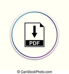 pdf, bestand, document, pictogram, vrijstaand, op wit, achtergrond., downloaden, pdf, knoop, teken., cirkel, witte , button., vector, illustratie