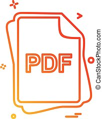 pdf, bestand, type, pictogram, ontwerp, vector